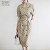 百洛安夏季新款中长款连衣裙波点西装领修身系带女时尚纽扣一步裙