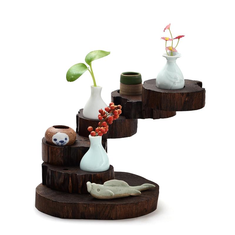 佐格茶具摆件实木可旋转花器摆台
