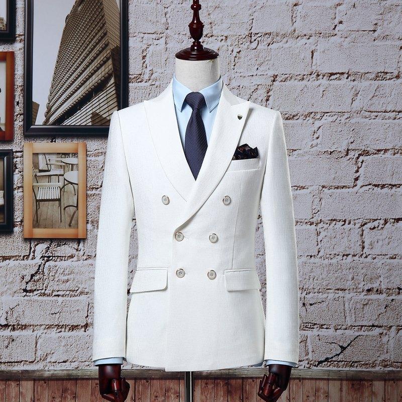 菲狮顿西服白色双排扣男士礼服时尚修身韩版结婚套装主持人明星款