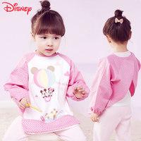 迪士尼儿童画画围裙纯棉宝宝吃饭罩衣防水秋冬长袖饭兜围兜反穿衣