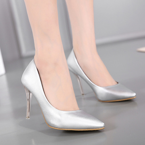 Classic high heels, bright silver