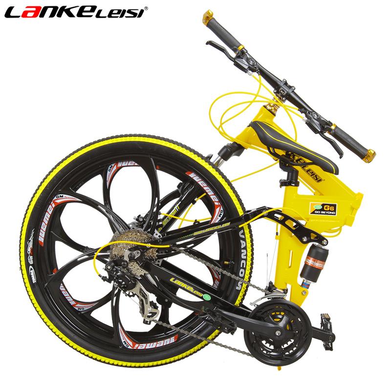 蓝克雷斯自行车26寸镁合金一体轮双碟刹24速折叠山地车msp430430ff149149ipm图片