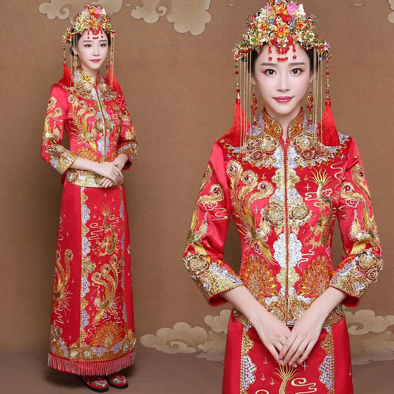 秀禾服新娘嫁衣中式结婚礼服敬酒服2018新款秀和服龙凤褂喜服旗袍
