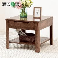 源氏木语纯实木边几白橡木角几北欧带抽屉边桌环保小方几客厅家具