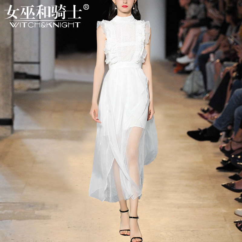 2018夏季新款欧美时尚名媛气质蕾丝雪纺高腰无袖白色连衣裙长裙女