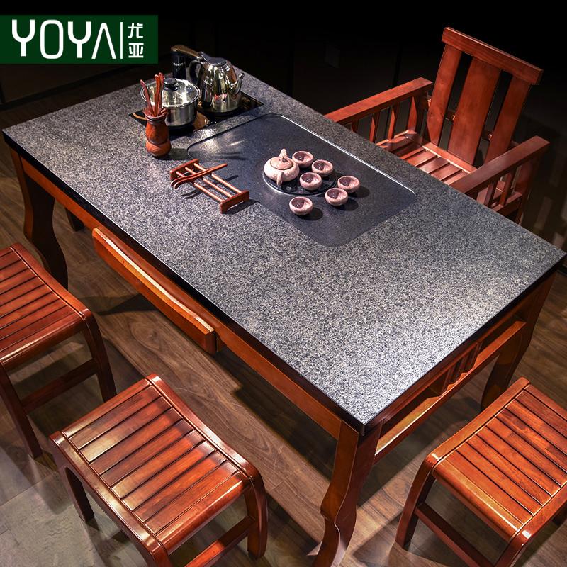 火烧石功夫茶几喝茶桌椅组合实木简约现代新中式茶台功夫泡茶桌