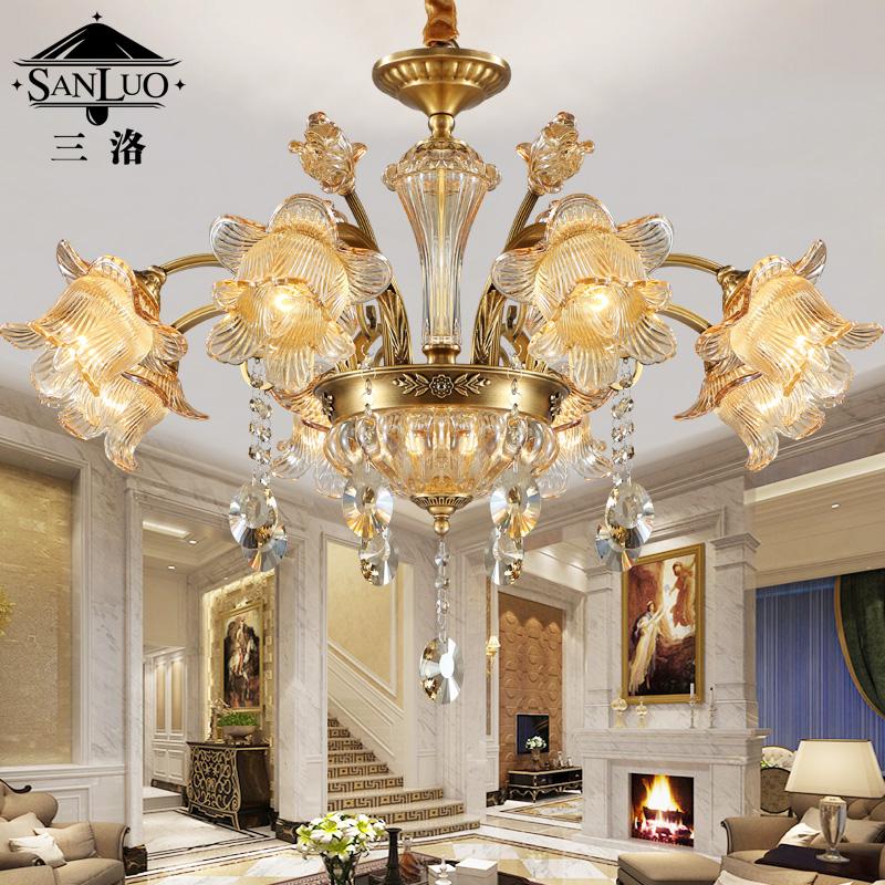 三洛美式全铜水晶吊灯Y051-8D