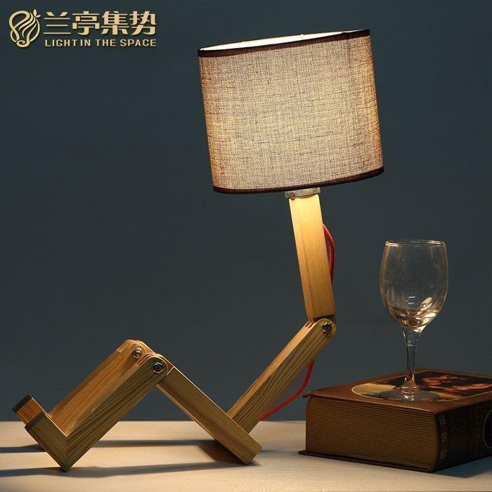 兰亭集势简约实木小台灯可爱木头人