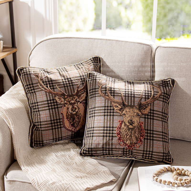 w奇居良品美式棉纱靠垫套BZ0105