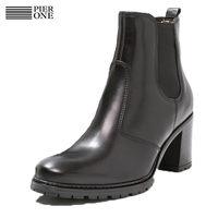 Pier One女士黑色粗跟皮靴休闲中筒靴子时尚保暖女鞋