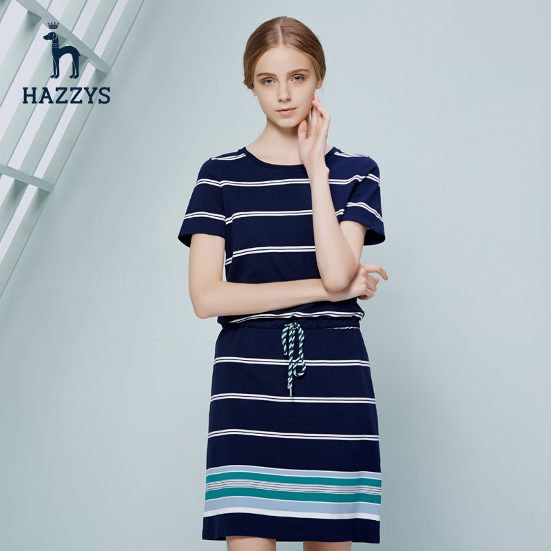 Hazzys哈吉斯女士休闲连衣裙女春夏季新款短袖裙子女装收腰显瘦