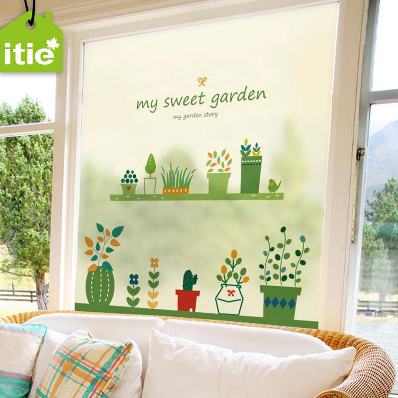 爱贴静电磨砂玻璃贴纸我的甜蜜花园