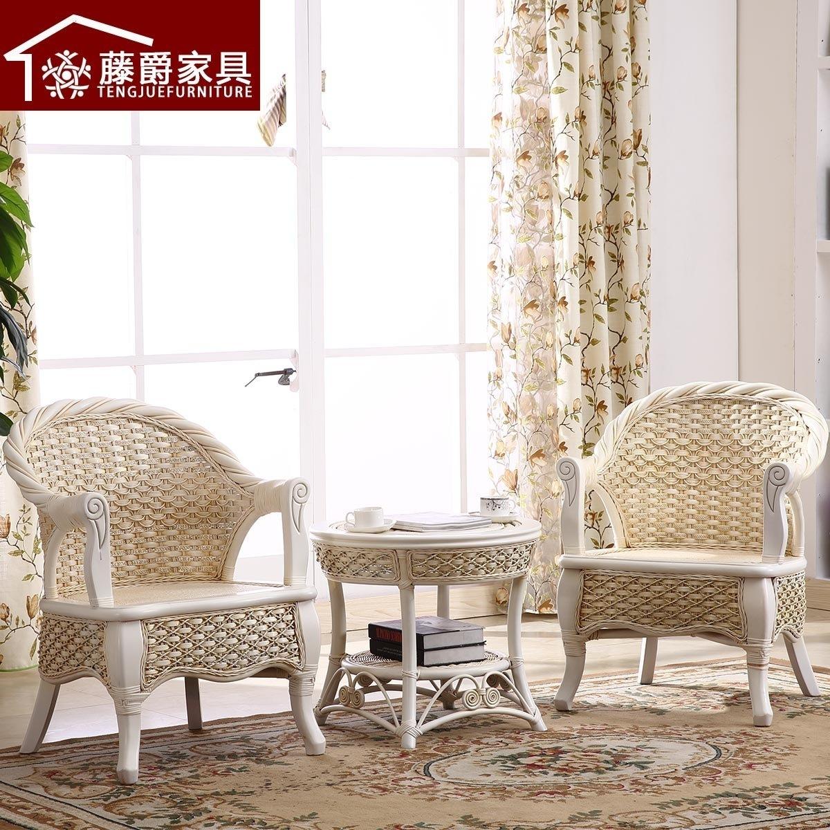 藤爵家具天然藤椅茶几三件套#-1