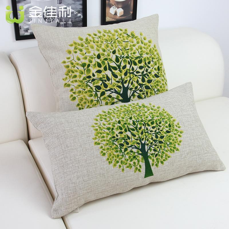 欧式古典高档棉麻印花绿色树抱枕 沙发靠垫 腰枕创意抱枕(含芯)图片