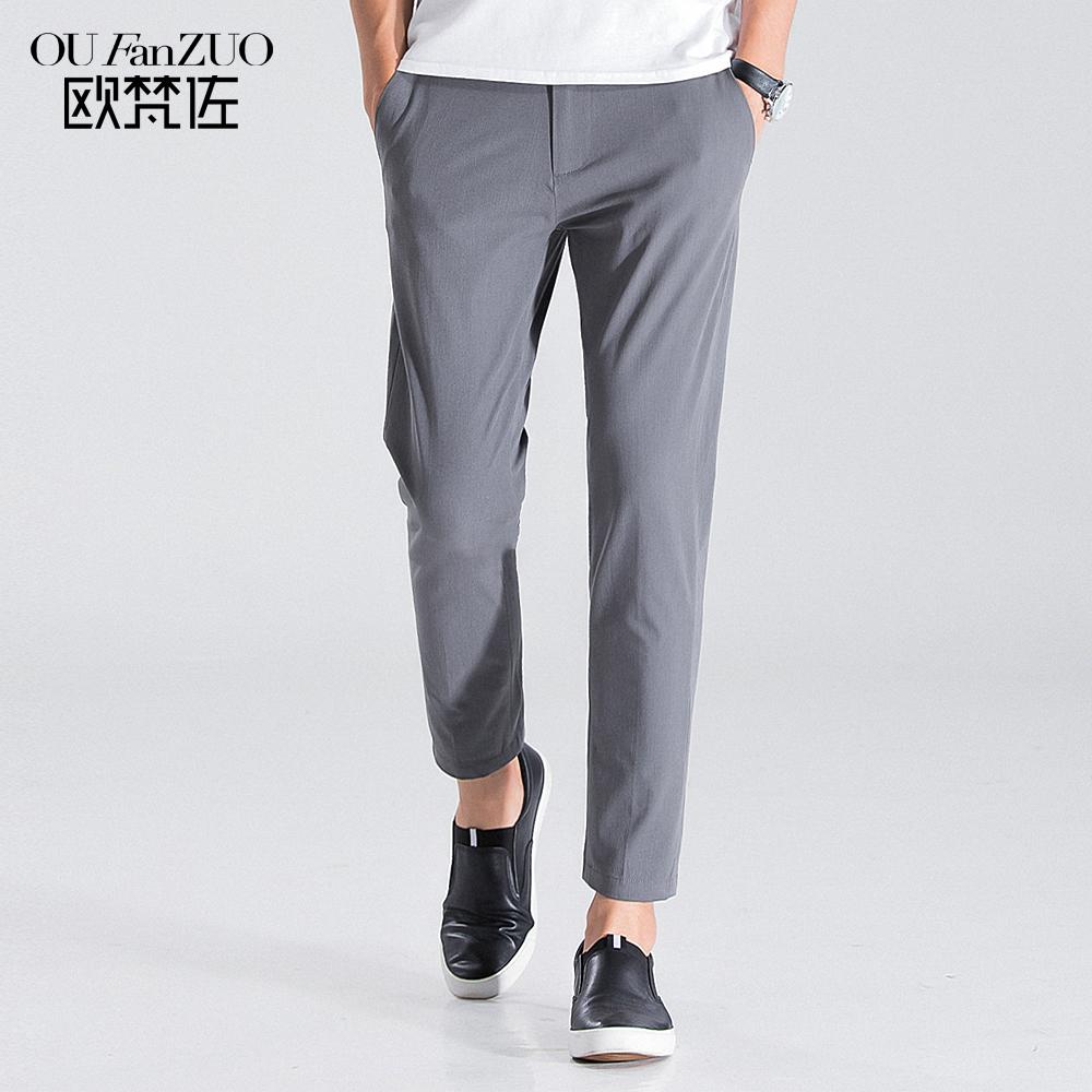 灰色九分裤 日系韩风 时尚潮流 显瘦神器 弹力料 个性双排扣设计