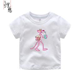 2017新款男士短袖t恤韩版潮流粉红豹儿童卡通圆领纯棉亲子装夏装