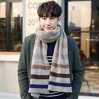 2016韩版男士围巾秋冬季毛线加厚围脖男生长款情侣学生针织围巾冬