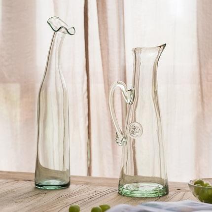 掬涵 工艺玻璃瓶 大花瓶花器花插花樽纯手工吹制拉制 典雅大气