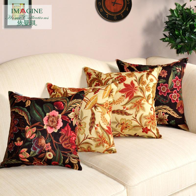 依曼琪美式棉麻印花沙发靠垫套400809