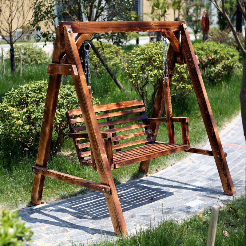 秀天堂木业成人实木秋千休闲庭院户外摇椅儿童阳台防腐木吊椅