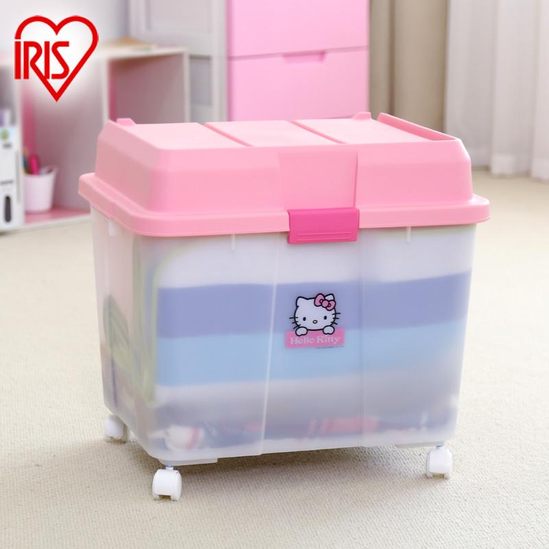 日本爱丽思IRIS HELLOKITTY大号玩具塑料整理收纳衣服储物箱子