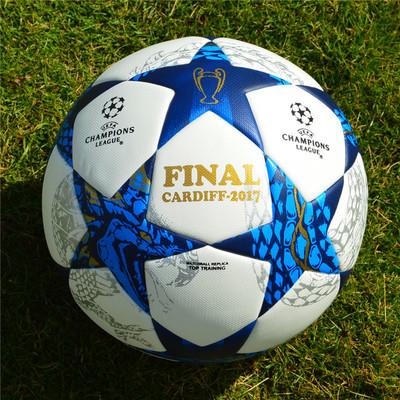 2017欧冠决赛用球5号足球 加厚高弹比赛训练无缝4号英超贴皮足球图片