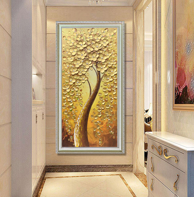入户玄关装饰画欧式过道手绘油画招财风水发财树挂画立体竖版壁画