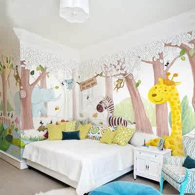 手绘卡通森林动物园壁纸壁画儿童房卧室游乐场幼儿园背景墙纸墙布