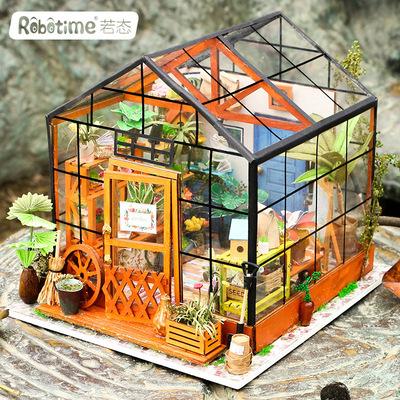 若态若来diy小屋手工制作创意小房子模型建筑凯西花房艺术屋礼物