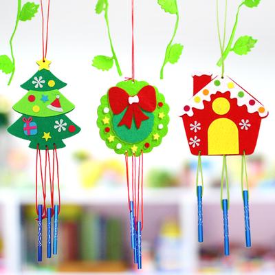 圣诞风铃 儿童diy手工制作 无纺布家居装饰 幼儿园不织布材料包