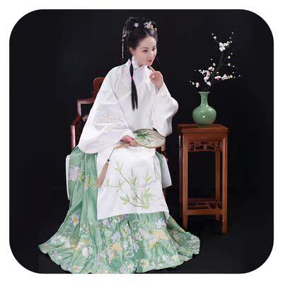 泱汉【清梦潇湘】明制袄裙 交领长袄 马面裙 传统汉服 绣花yh164图片
