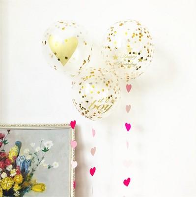 六一儿童节气球 婚礼生日派对布置装饰 北欧ins网红纸屑透明气球