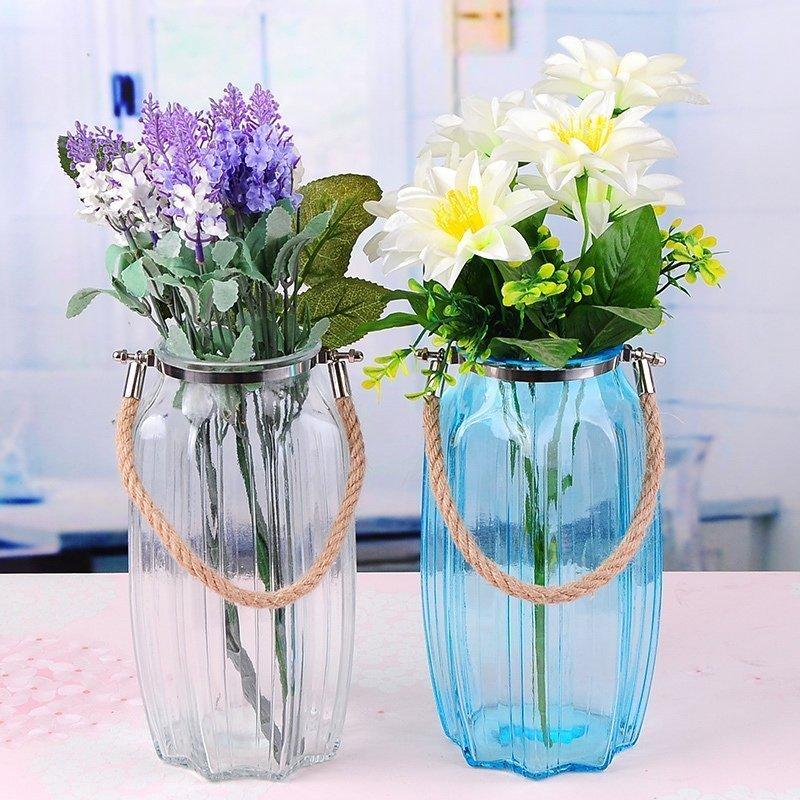 欧简田园风麻绳吊环多彩花瓶家居装饰水培花器插花玻璃瓶图片