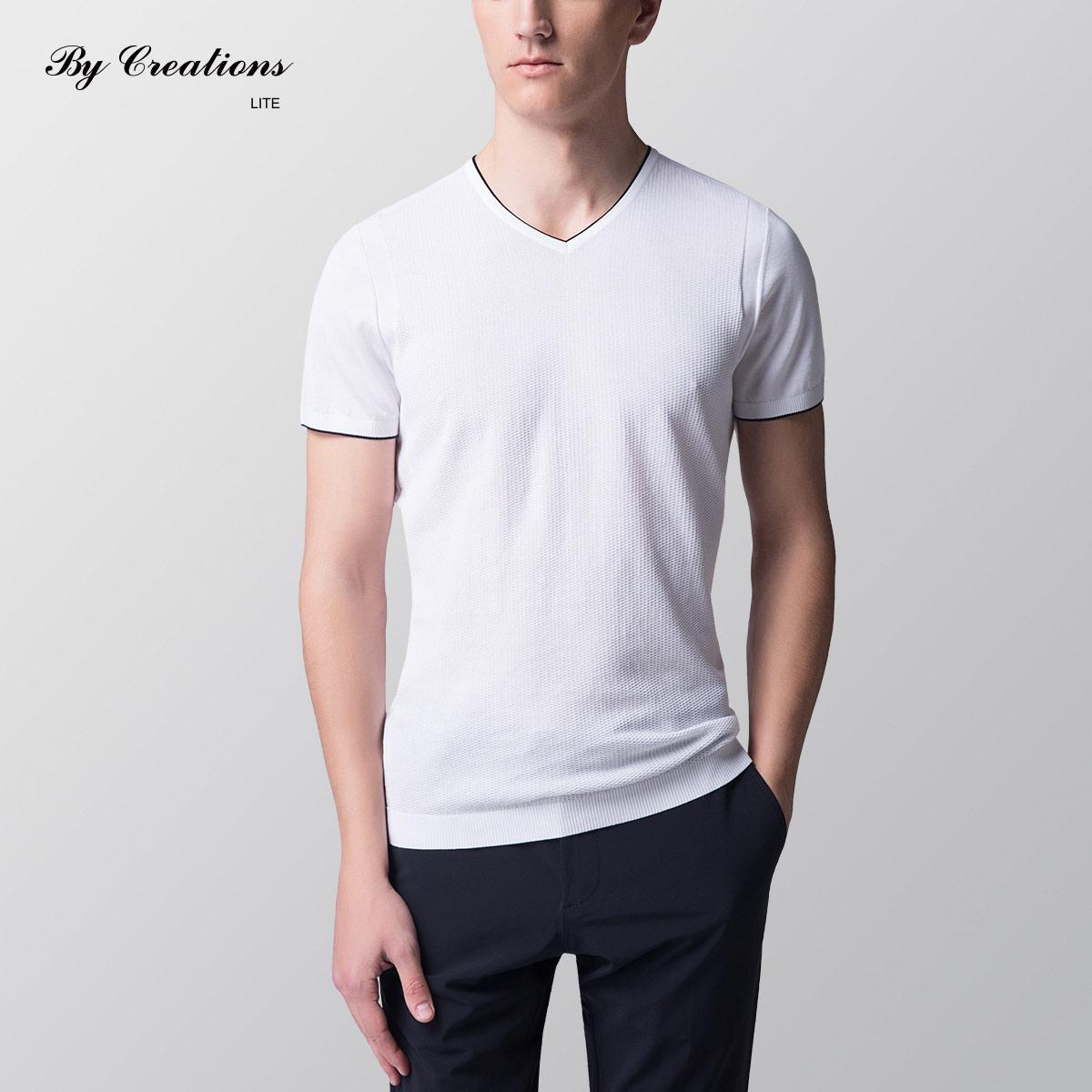 by creations lite夏季新品 男士v领长绒棉t恤 针织短袖打底衫