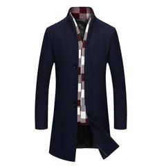 秋冬,男士,毛呢大衣,商务,风衣,中年,呢子,外套,P125,灰色