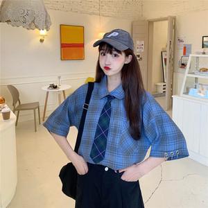 833#【实拍 配领带】学院风学生JK短袖衬衫韩版怪味少女格...