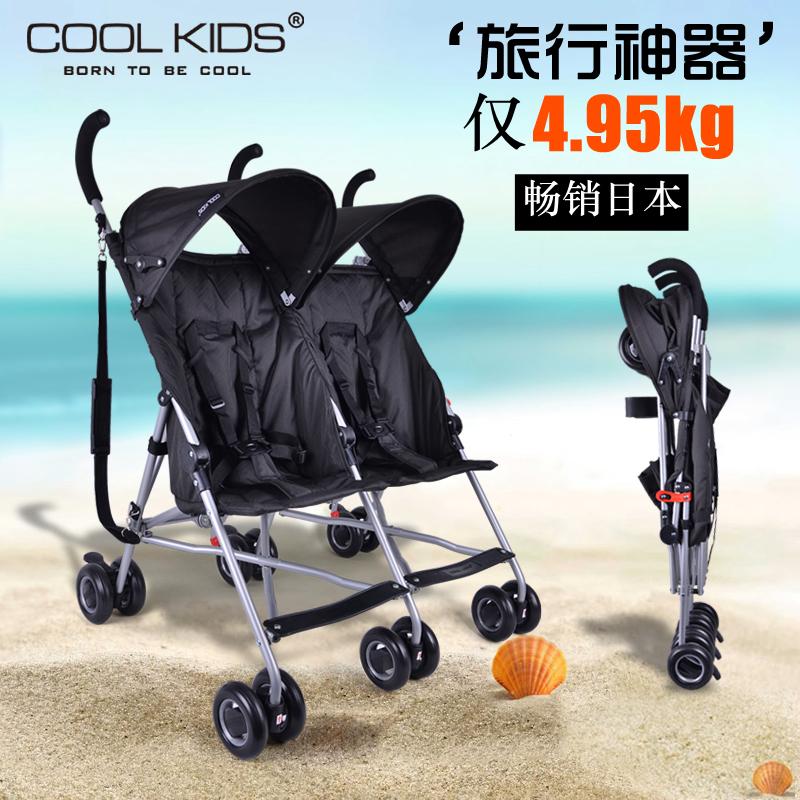 barbne/巴巴泥 日本COOLKIDS婴儿双人推车超轻便携伞车折叠二胎儿童双胞胎手推车