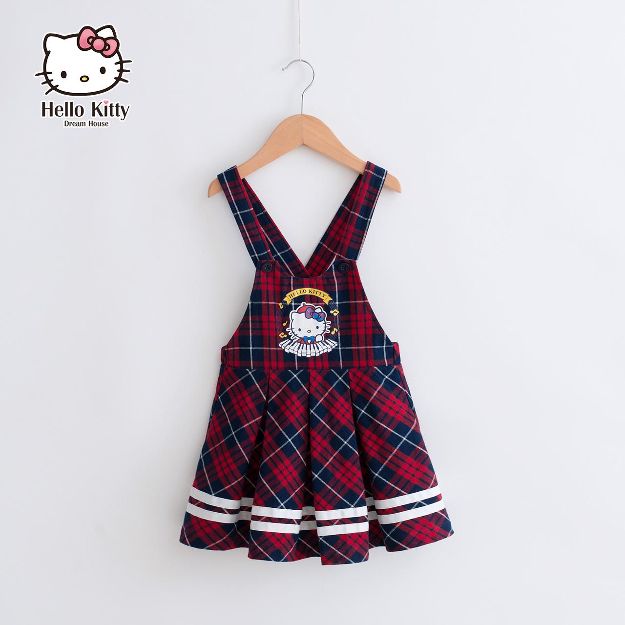 Hello kitty童装女童连衣裙秋装2018新款吊带裙子儿童公主背带裙