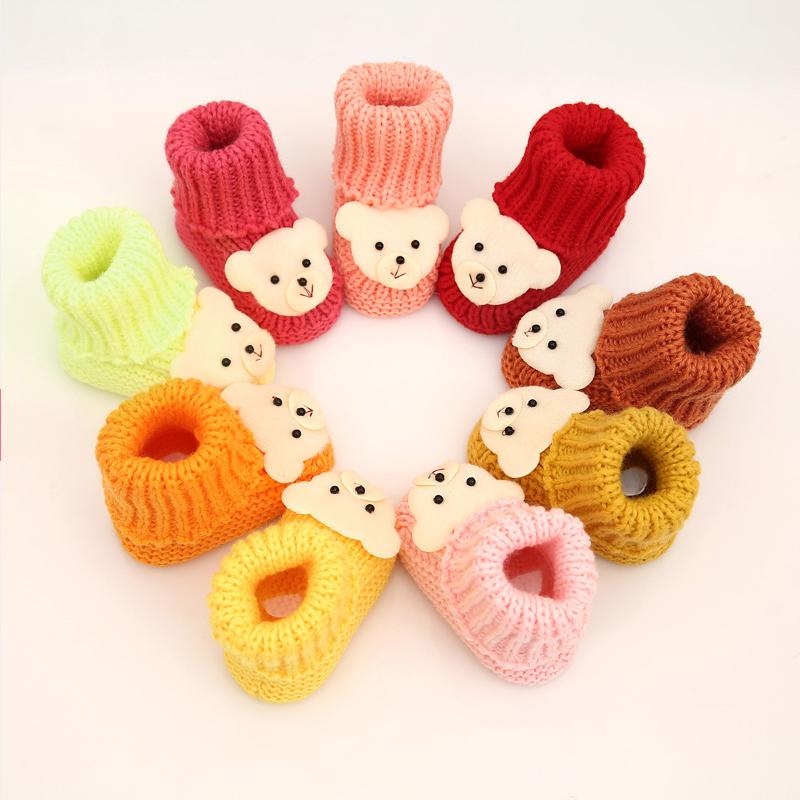 纯手工编织婴儿宝宝鞋棉裤外袜套毛线鞋软底婴儿0-1岁高筒冬鞋靴