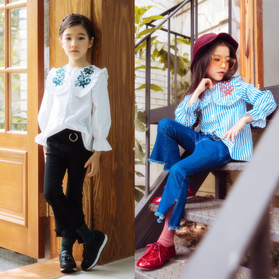 2017 autumn new children's clothing girls in large Korean fashion striped shirt + jeans set paternity