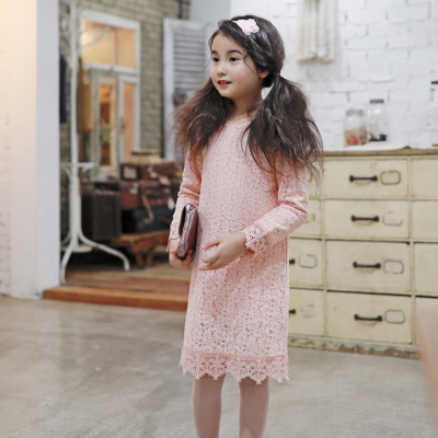 2017 autumn new children's wear girls Korean lace dress princess dress mesh yarn skirt child dress evening dress parent-child