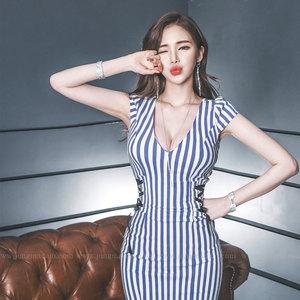 【高档女装】新款深V性感条纹包臀连衣裙0362#