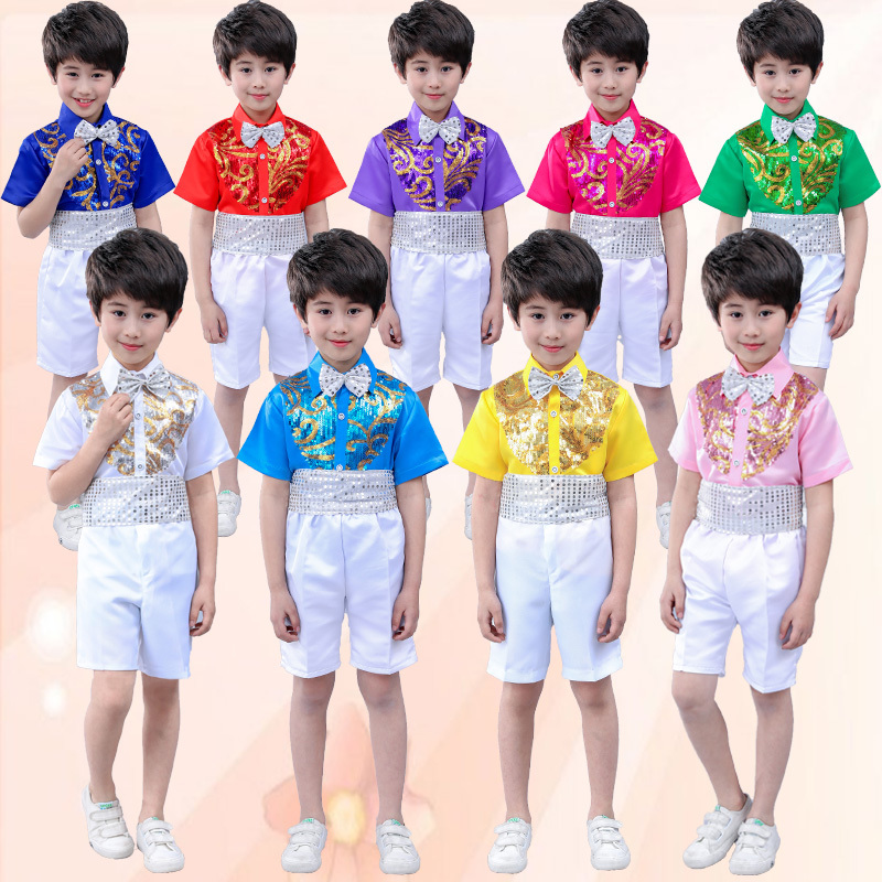 Children's chorus dress,sequins shirts short,campus boys recite stage costumes ,Short sleeve sequin shirt performance clothing