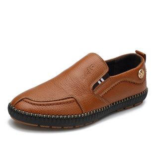 男士商务套脚缝制皮鞋