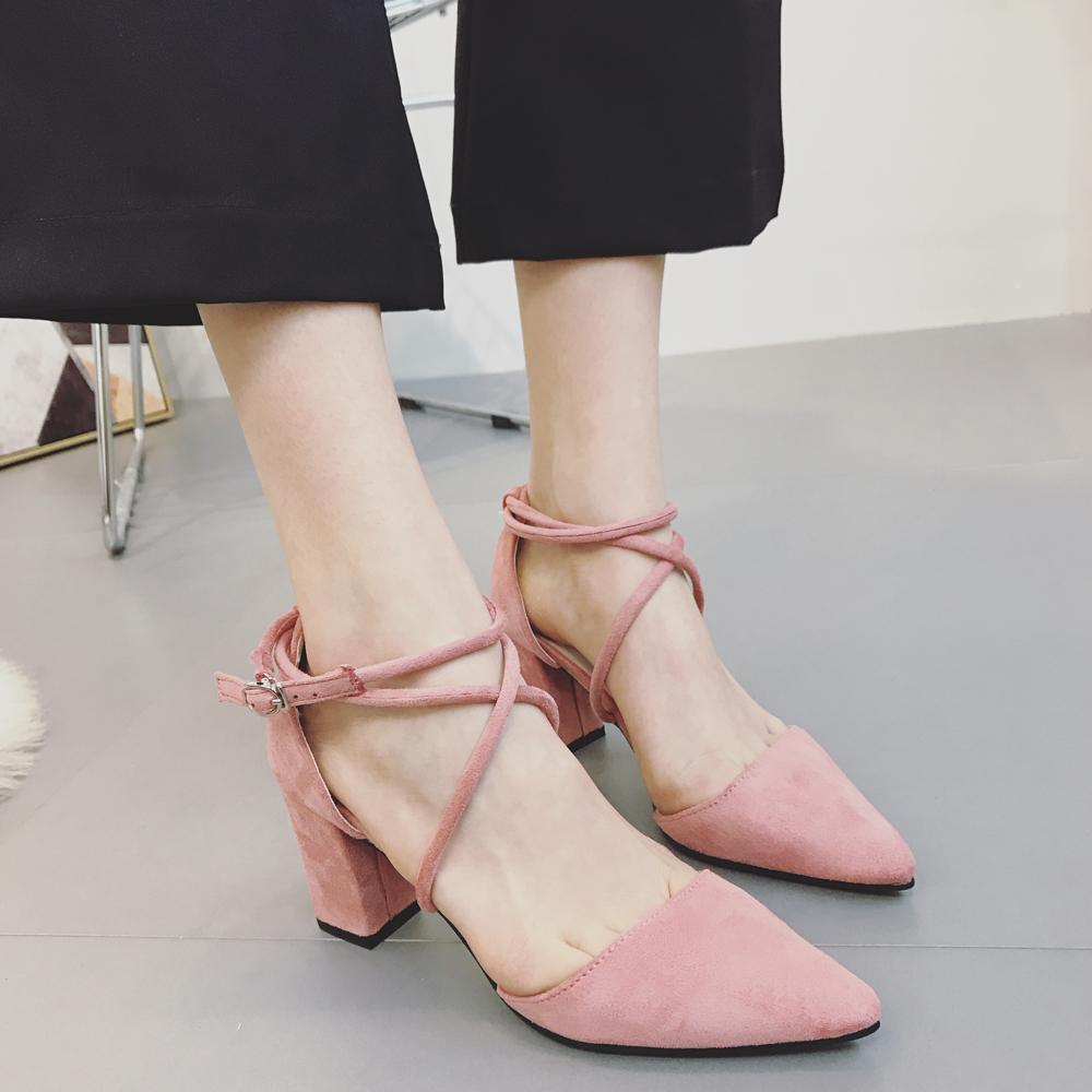 罗马高跟凉鞋女学生夏2017新款女鞋百搭一字扣绑带粗跟高跟鞋