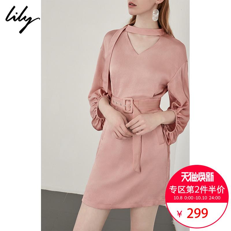 特Lily2018秋新款女装 纯色V领收腰直筒灯笼袖连衣裙 118359C7930