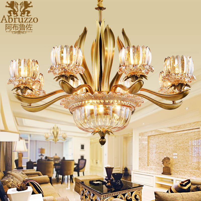 铜灯全铜吊灯 纯铜欧式客厅灯具 法式吊灯 简欧式生命之树铜吊灯