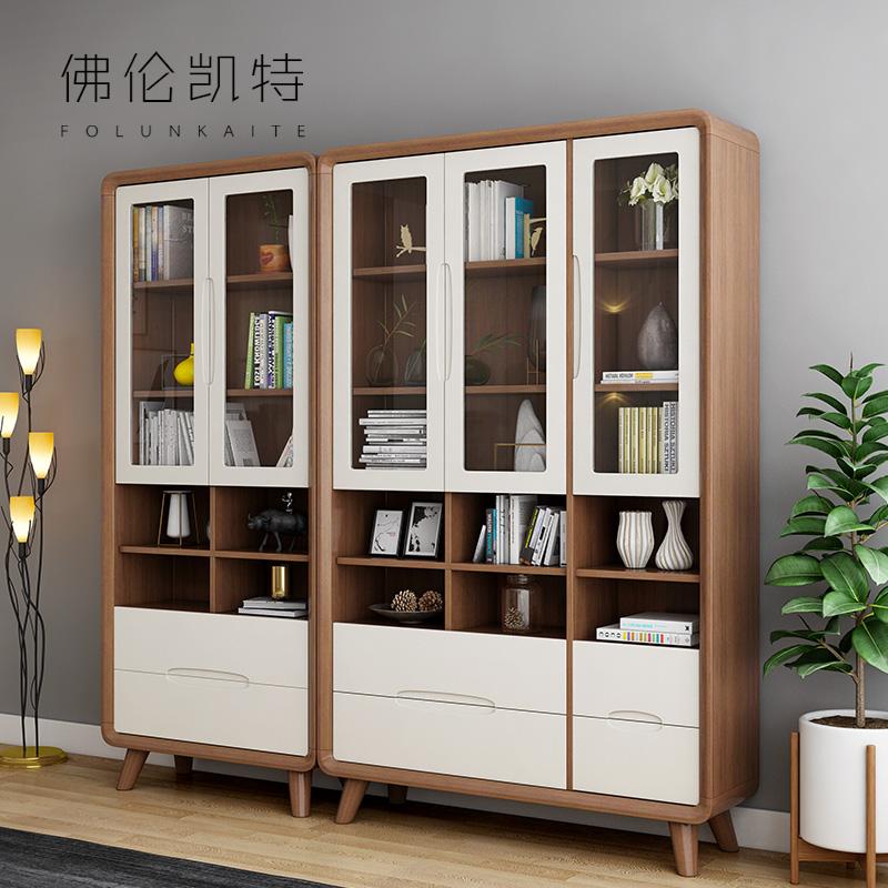 书橱北欧风简约现代带玻璃门书房书柜架实木多功能置物收纳展示柜