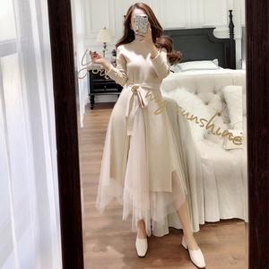 视频+实拍长款开叉毛衣+不规则纱裙两件套8985