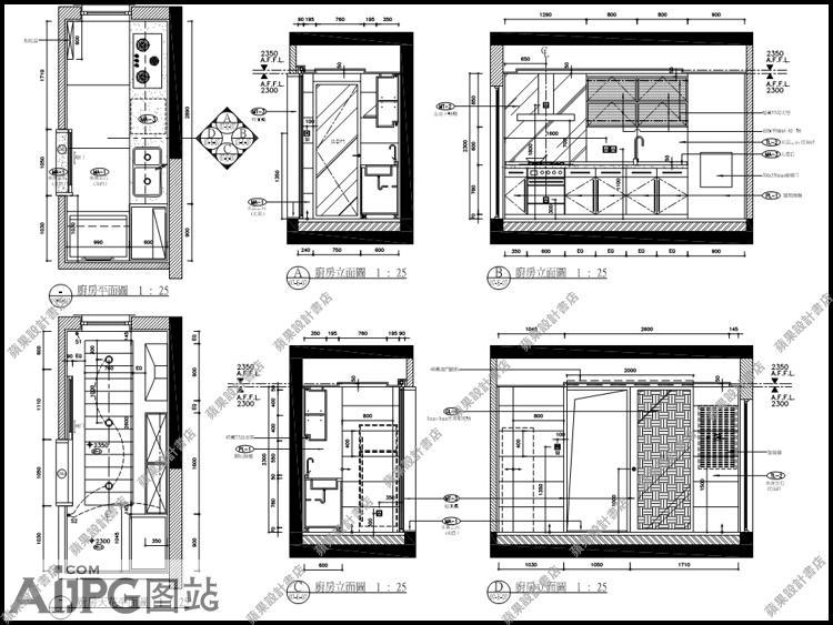 别墅厨房立面图/欧式厨房橱柜设计详图大样/室内装修施工图纸